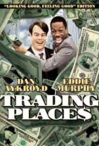 Carátula de Trading Places, película protagonizada por Dan Aykroyd y Eddie Murphy
