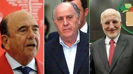 empresarios españoles Emilio Botín, Amancio Ortega y Juan Roig.