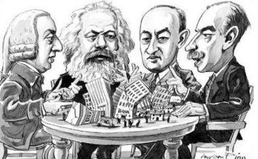 economía - caricatura grandes economistas